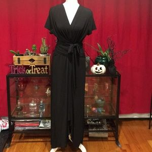 Michael Kors Black Crepe Long Hi Low Wrap Dress XL